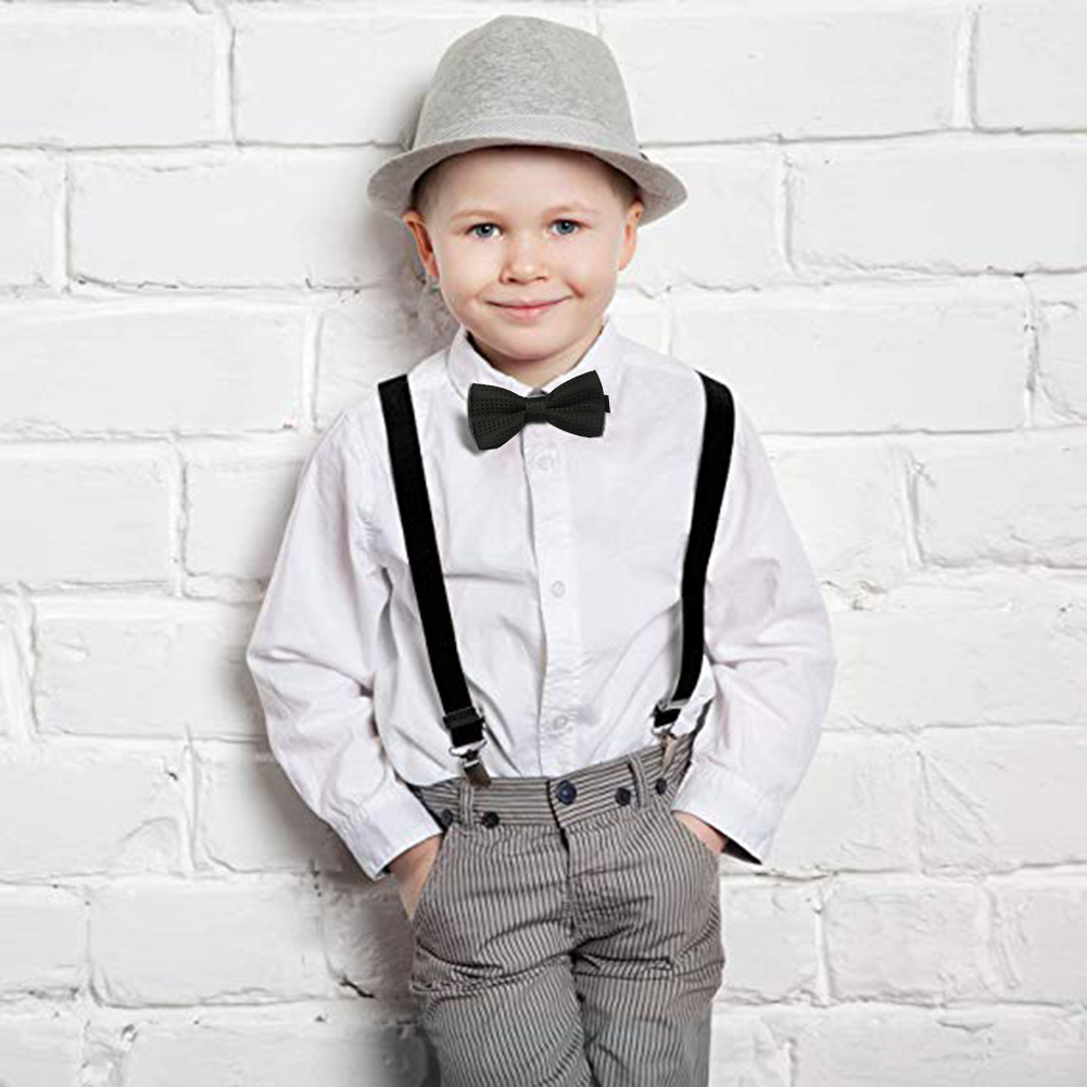 Kid Fashion Tuxedo Suspender /& Bow Tie Set School Boys Girls Children Red Sequin