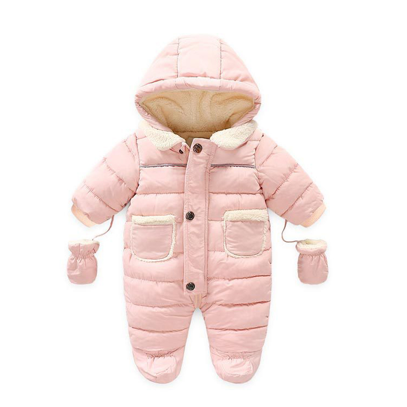 Newborn Baby Snowsuit Romper Fleece Lined Outwear Winter Warm Outfit with Gloves