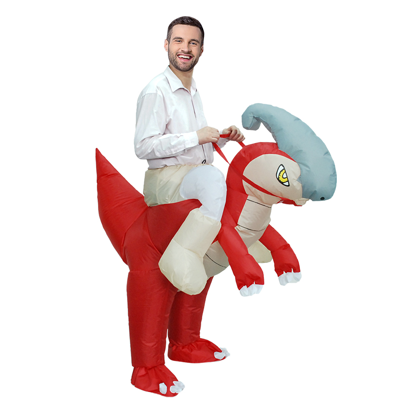 the hot sell inflatable Red dinosaur costume animal halloween for man Free shipping