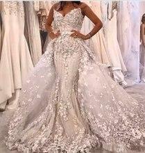חדש vestido דה noiva בת ים שמלות כלה 2020 מתוקה תחרת אפליקציות בתוספת גודל שמלות כלה עם נתיק רכבת