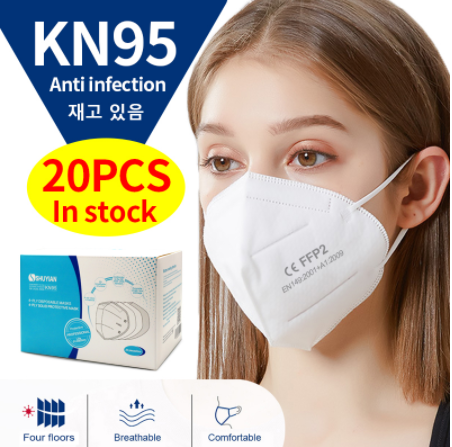 20 Pcs KN95 Mask CE Certification Anti Bacter Dustproof Coronavirus Mouth Face Mask N95 Mouth Mask KF94 FFP2 Earloop Face Mask
