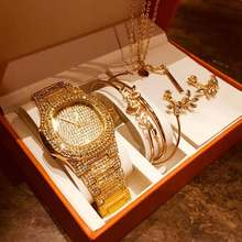 CIBO fashion creative square watch + leaves shining bracelet suit + 8 ps/orecchini e set collana