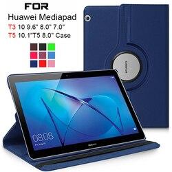 Чехол для планшета Huawei MediaPad T5, 10, T3, 9,6 дюйма, 8, 7,0, Wi-Fi, Φ/L09, Φ/W09, вращающийся на 360 градусов чехол из искусственной кожи, стеклянный чехол