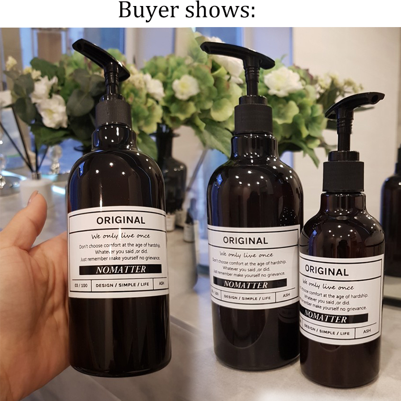Shampoo Press Bottle Liquid Shower Gel Refillable Portable Empty Soap Dispensers Simple Nordic Style Bathroom Jar 250/300/500ML