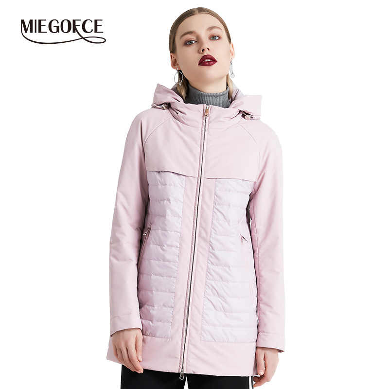 MIEGOFCE 2019 New Fashion Collection Spring Autumn Women's Short Jacket With A Hood Windproof Insulated European Style Coat