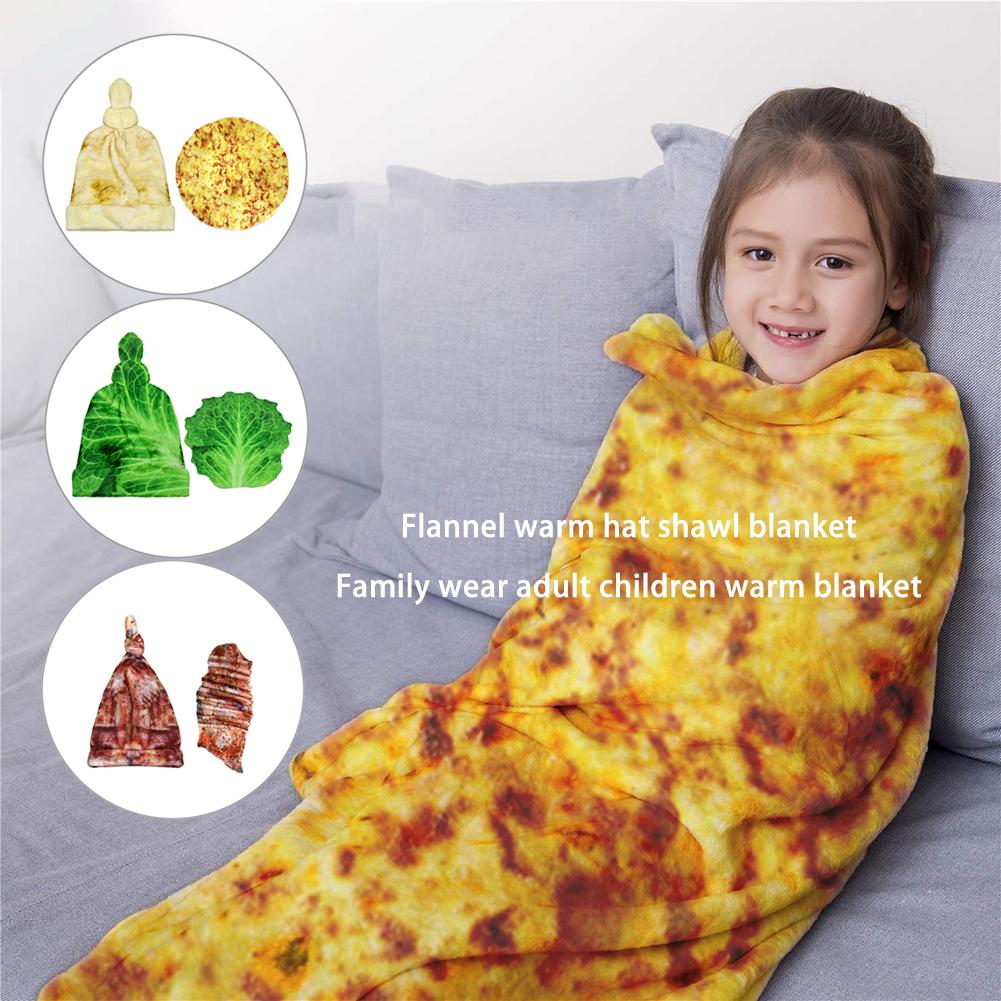 High Quality Flannel Warm Hat Shawl Blanket Family Wear Adult Child Warm Blanket For Home Office Air-conditioned Room