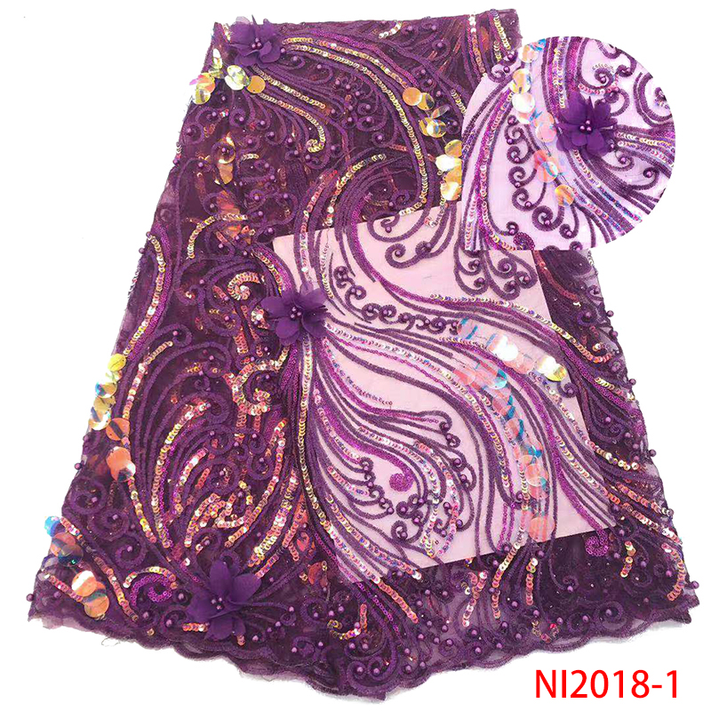 Latest African Lace Fabric High Quality 3D Lace Fabric With 3D Flowers And Beads Nigerian Sequence Laces KSNI2018-1