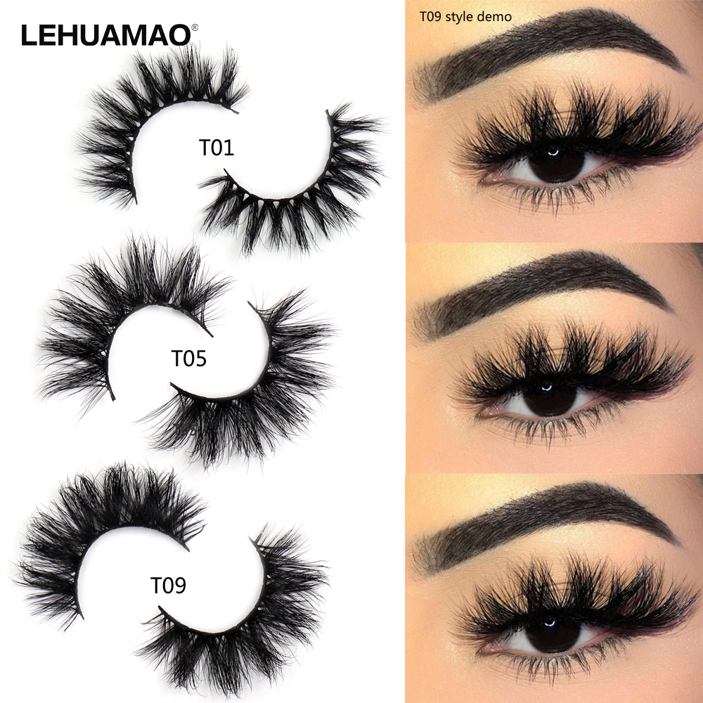 LEHUAMAO Mink Lashes 3D Mink Eyelashes 100% Cruelty Free Lashes Handmade Reusable Natural Eyelashes Popular False Lashes Makeup