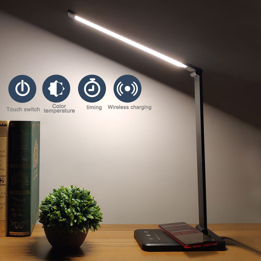 Eye Protect LED Desk Lamp Aluminum Alloy Folding Touching Dimming 3 Level / 5 Level /timing / Plug / Charge / Black / Silver USB