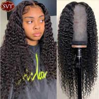 SVT-peluca con malla frontal de pelucas de cabello humano rizado profundo indio para mujeres negras