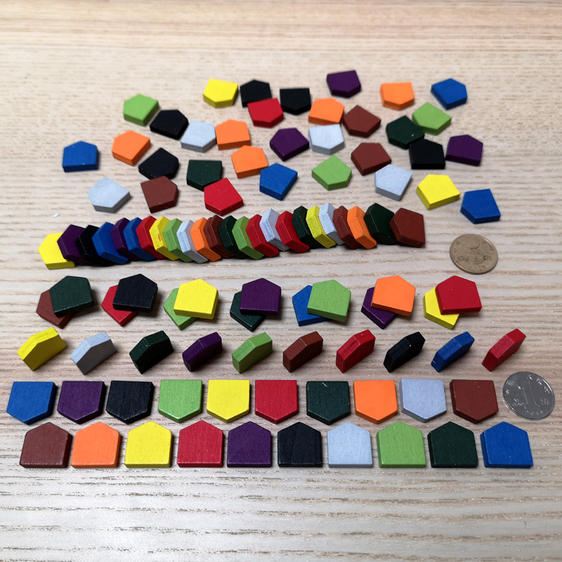 50 Pieces 16*16MM Colorful Wooden House Pawn Game Pieces For Tokens Board Games/Educational Game Accessories 10 Colors