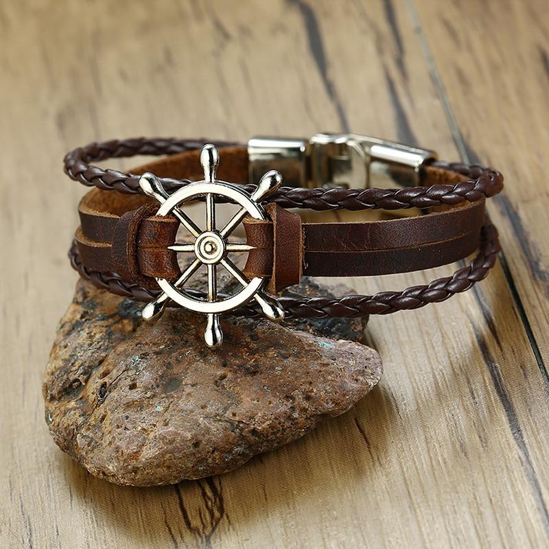 Vnox Vintage Rudder Charm Bracelet for Men Multi-layer Leather Rope Bracelets Bangles 7.87″ pulseira masculina