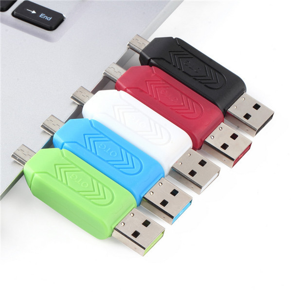 1pc Universal Card Reader Mobile Phone PC Card Reader Micro USB OTG Card Reader OTG TF / S-D Flash Memory Wholesale