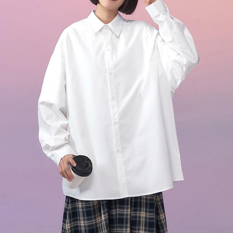 LEGIBLE 2021 camisa de manga larga mujeres blanco cuello básico Casual adolescente niña camisa Oversize blusa.