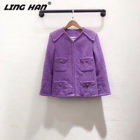 LINGHAN Early spring New Cotton Tweed purple coat Women Fashion Button V Neck Short jacket + Silk lining
