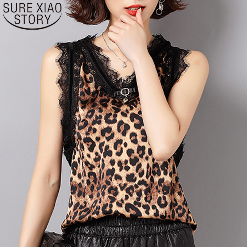 Sexy Tops Blouses Leopard Shirts Women Clothing Lace Casual Summer New-Fashion And 5470