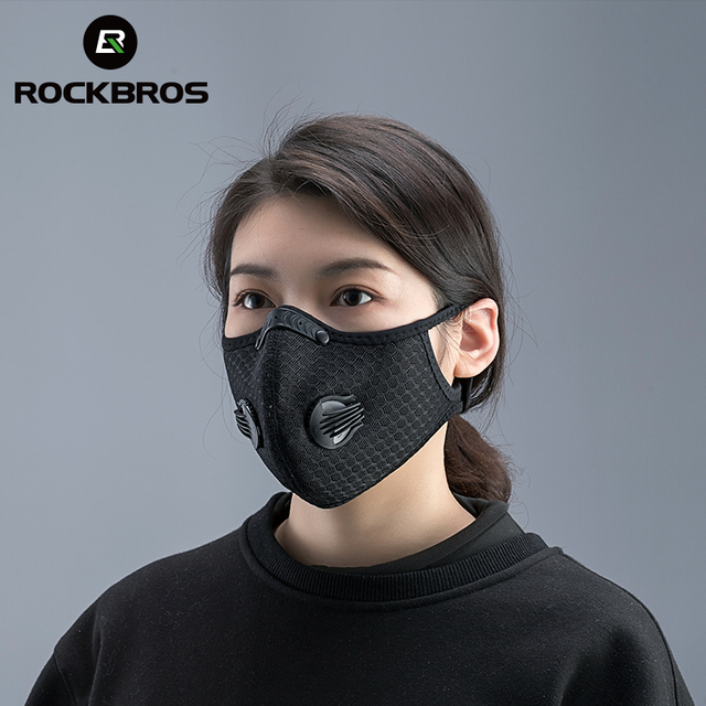 ROCKBROS Cycling Face Mask Filter PM2.5 Anit fog Breathable Dustproof Bicycle Respirator Sport Protection Dust Mask Anti droplet