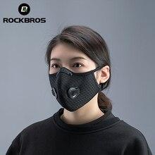 ROCKBROS – Masque facial avec filtre PM2.5, bavette de cyclisme, respirante, pour les amateurs de vélo et de sport, protection anti poussière, antibrouillard et anti gouttelette