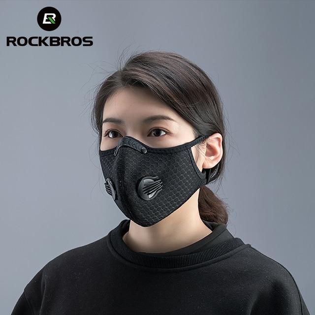 ROCKBROS maska rowerowa z filtrem PM2.5, przeciwmgielna, oddychająca, pyłoszczelna, kurz, respirator, sport, ochrona, przeciw kropelkom