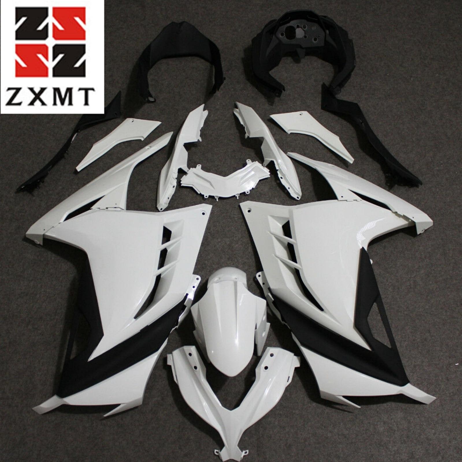 ZXMT Motorcycle Full Fairing Set Kit For Ninja 300 2013 2015 2017 EX300  Unpainted White Injection Bodywork Panel Plastics 13