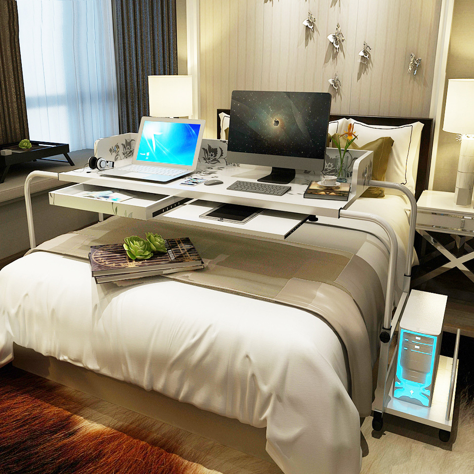 A Creative Widen&Height Adjustable Laptop Stand Cross Bed Computer Table Large Size Computer Desk With Keyboard&Draw