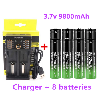 8pcs 2020 New18650 Battery High Quality 9800mAh 3.7V 18650 Li-ion batteries Rechargeable Battery For Flashlight Torch +Charger gtf 18650 9900mah rechargeable battery 3 7v li ion rechargeable battery for flashlight torch headlamp 18650 li ion batteries