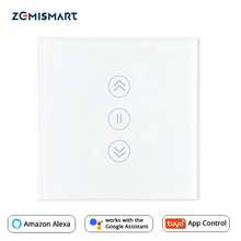 EU Curtain Switch WiFi Smart Switches Alexa Google Home Voice Tuya Smart Life APP Control With Blue Backlit Optional