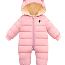 Baby Coat Jumpsuit Overalls Romper Girls Infant Kids Winter New-Born Thick Warm Hooded