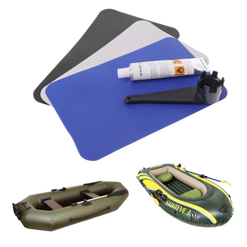Inflatable Boat Swimming Pool Kayaking PVC Puncture Repair Patch Glue Kit Adhesive Canoe Valve Wrench