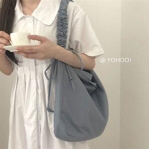 Плиссированные сумки-мессенджеры на шнурке, Женская холщовая Большая вместительная сумка на плечо, женские корейские повседневные школьны...