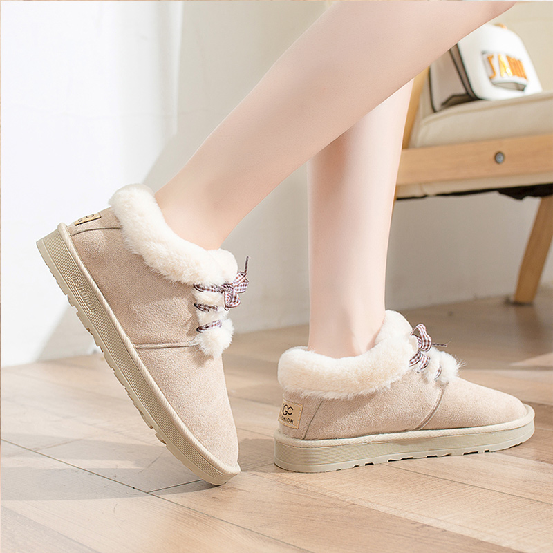 2019 Women Snow Boots Winter Warm Plush Insole Flat Ankle Boots New Fashion Lace-Up Casual Flock Women Shoes 55
