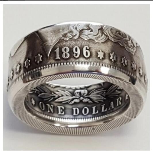 Кольцо с монетницей, покрытое серебром, 1896 долларов США, 8-16 размеров, ручная работа