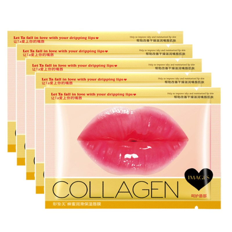 Crystal Collagen Lip Plumper Mask Honey Essence Lip Mask Pads Moisture Anti Aging Wrinkle Patch Gel Scrub Lips Care Enhancer(China)