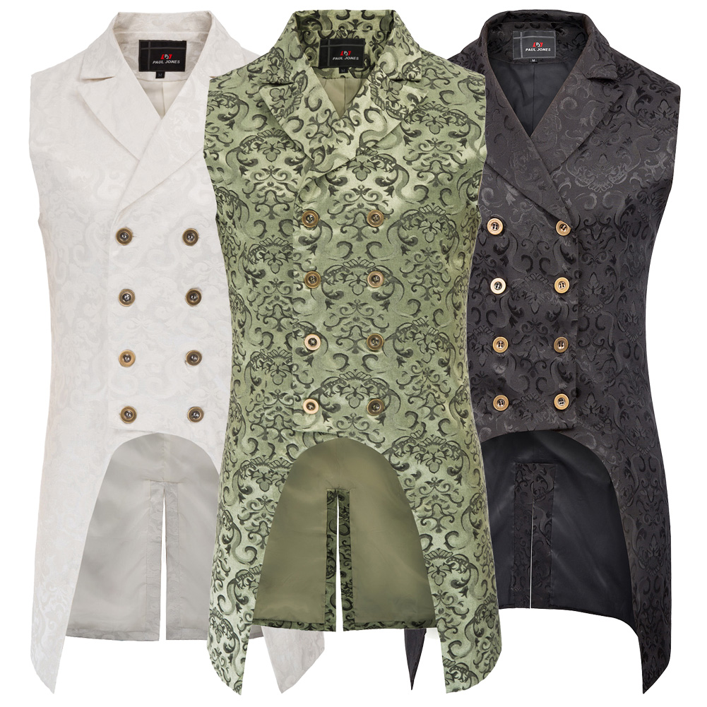 Ha75e772e1eb4490f913152b7f19e6a6fo vintage style Men coats medieval Steampunk Gothic Sleeveless Lapel Collar Double-Breasted formal prom party Jacquard Coat
