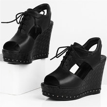 Fashion Sneakers Women Lace Up Cow Leather Platform Wedges High Heel Gladiator Roman Sandals Female Open Toe Summer Pumps Shoes choudory open toe high heel platform wedges mixed colors gladiator sandals buckle zipper leather fashion dunk low shoes woman
