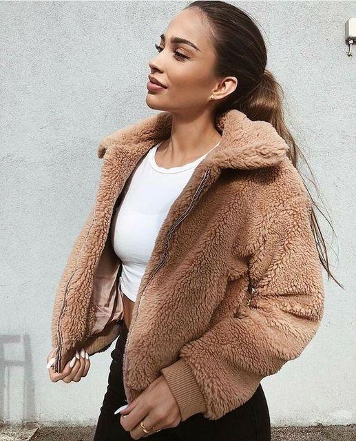 Women Thick Warm Teddy Bear Pocket Fleece Jacket Coat Zip Up Outwear Overcoat Winter Soft Fur Jacket Female Plush Coat Elegant