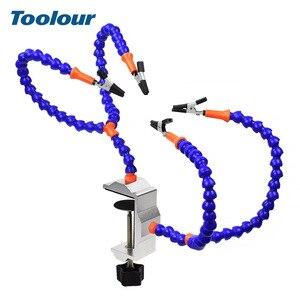 Image 2 - Toolour çoklu lehimleme yardım eli üçüncü el aracı ile 4 adet esnek kolları lehimleme İstasyonu tutucu PCB kaynak onarım için