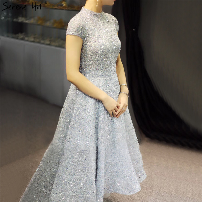 Dubai Luxury Silver Asymmetrical Evening Dresses 2019 High Neck Beading Sequined Evening Gowns Serene Hill LA60757