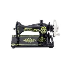 Odoria 1:12 miniatura Vintage negro máquina de coser decoración para casa de muñecas Accesorios