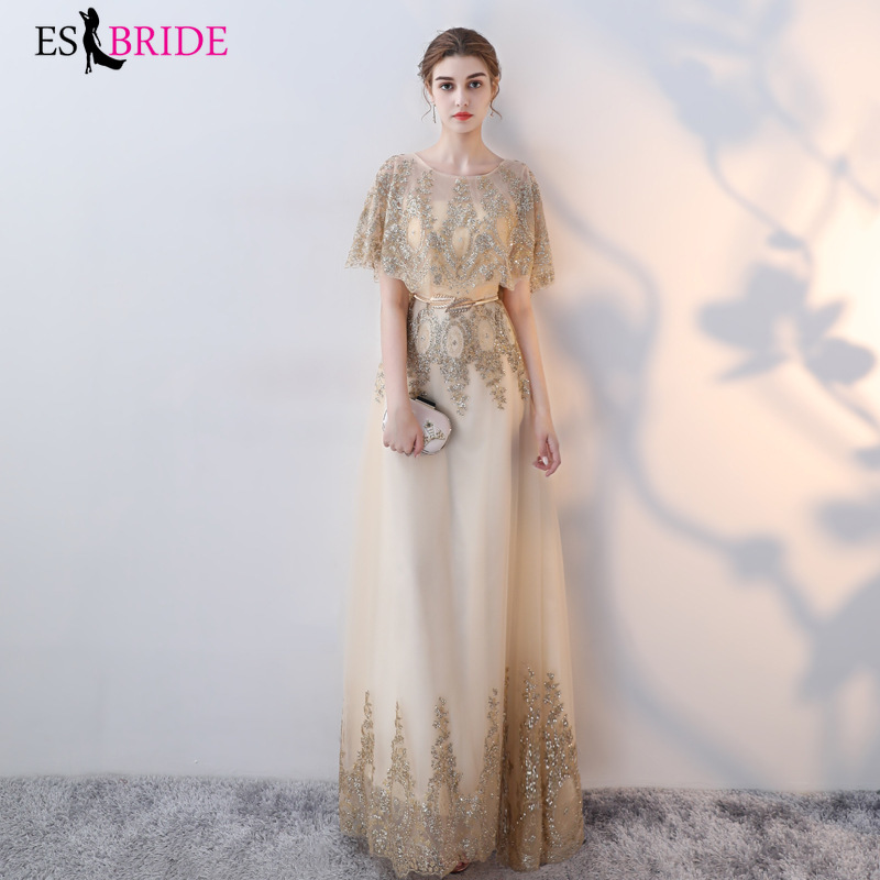 Long Evening Gowns Fashion New Arrival Elegant A Line Lace Evening Dress Fashion  Party Formal With Sleeve Robe De Soiree ES1430