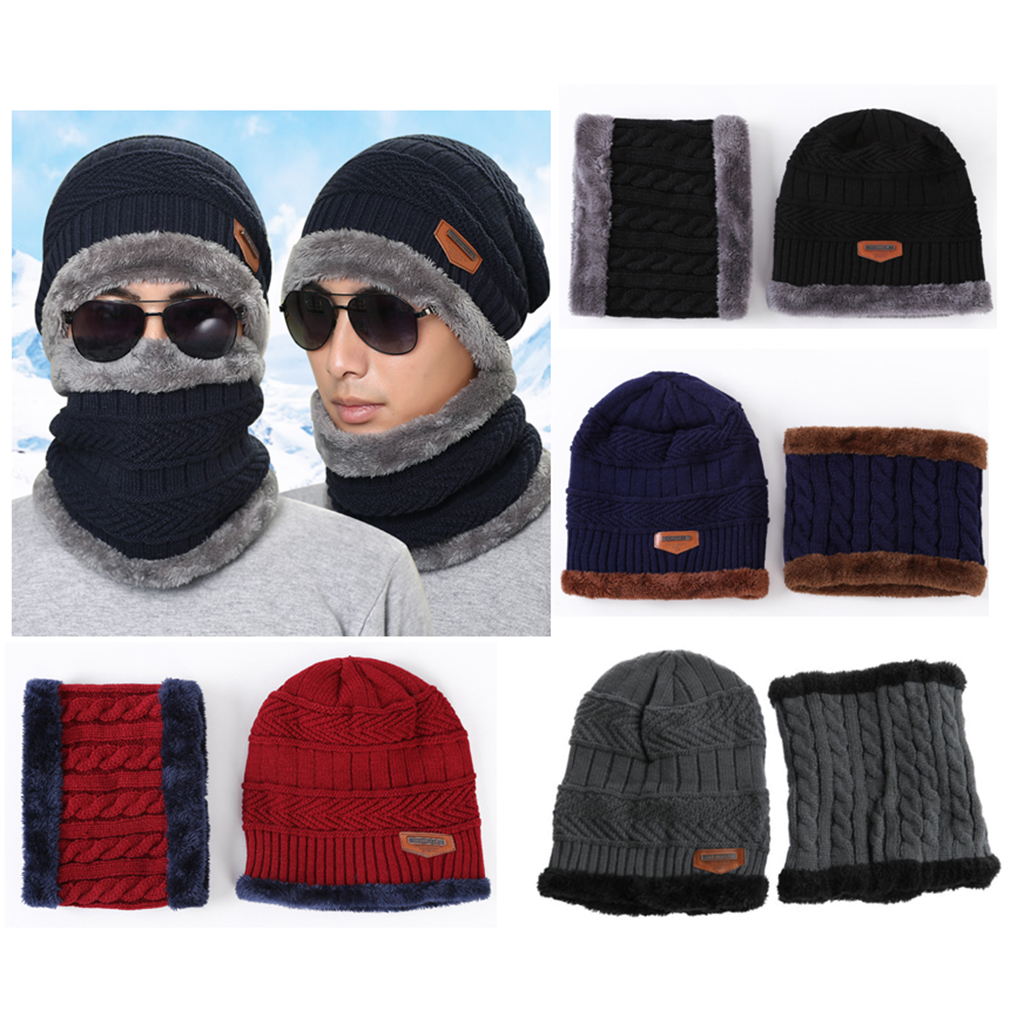 2PCS Men's Women's 2 Sided Beanie Winter Warm Knit Ski Knitted Scarf Hat Windproof Couple Hat Slouchy Hats With Pom Scarves