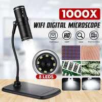 1000x WiFi 2MP Digital Microscope Portable HD 1080P USB Microscope Camera 8 Adjustable LED Light Tube Bracket For IOS Android PC