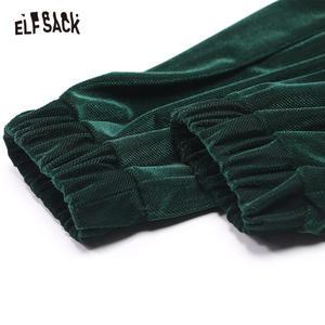 Image 5 - ELFSACK Gray Solid Elastic Waist Casual Women Haren Pants 2020 Winter Green Pure Korean Pocket Tighten Legs Ladies Daily Trouser
