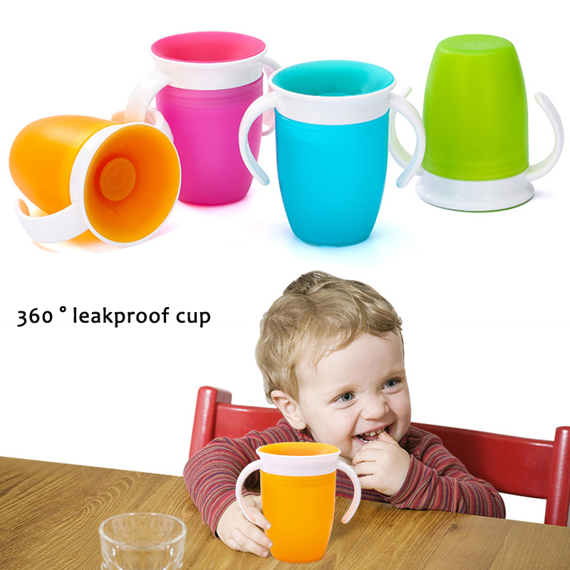 360 Degrees Baby Learning Drinking Cup With Double Handle Flip Lid Leakproof Magic Cup Child Kids Baby Water Feeding Cups Bottle