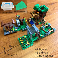 900+pcs legoing minecrafted building blocks Morka Mountain Villa big farm with storage box figures Educational toys for children