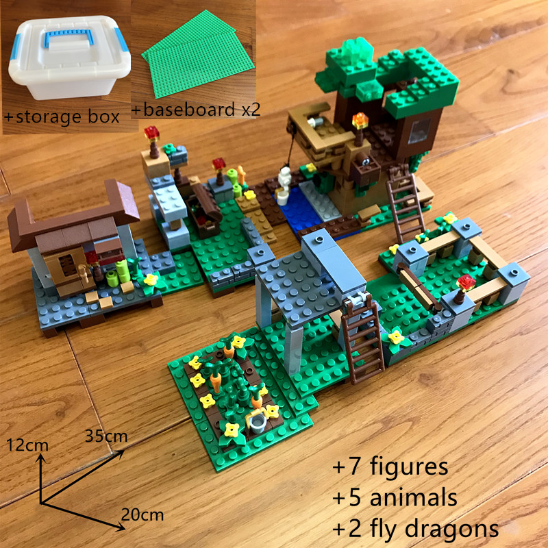 900 pcs legoing minecrafted building blocks Morka Mountain Villa big farm with storage box figures Educational toys for children in Blocks from Toys Hobbies