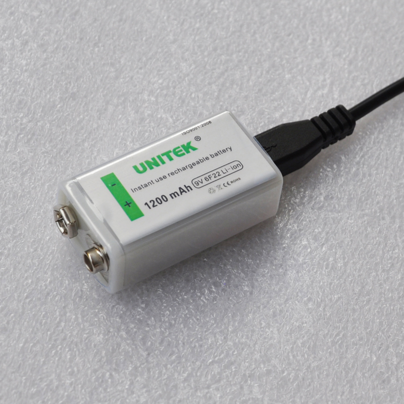 1PCS USB <font><b>9V</b></font> Rechargeable Li-ion Battery <font><b>1200mAh</b></font> 6F22 lithium ion cell for KTV microphone Guitar EQ smoke alarm multimeter image