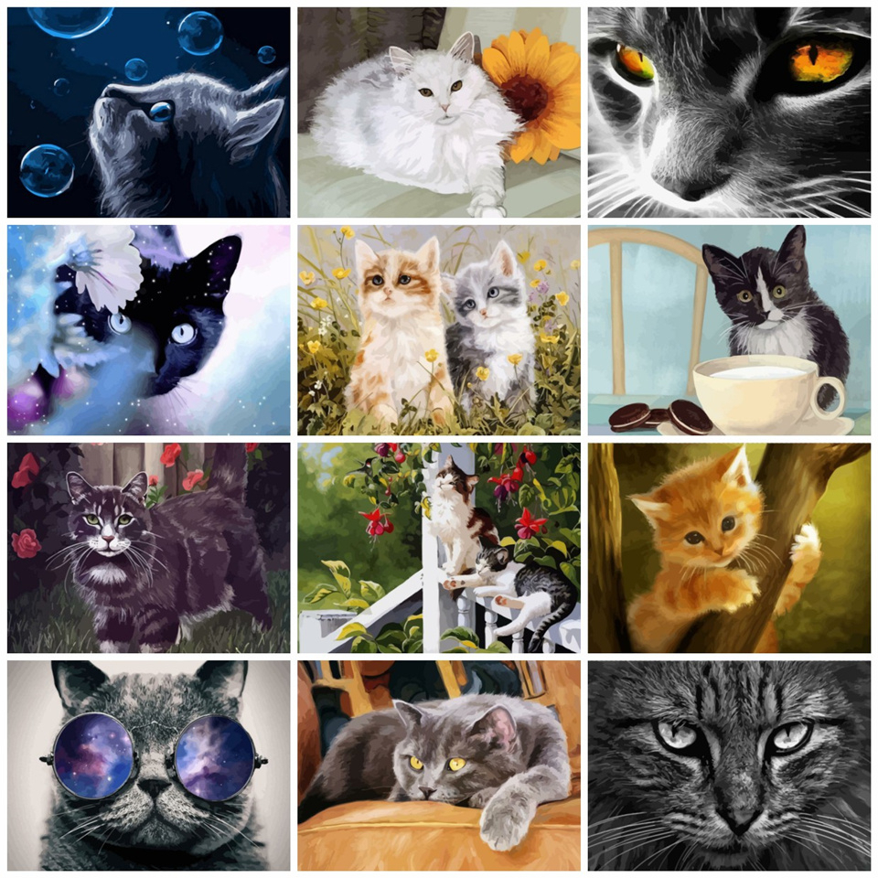 AZQSD 50x40cm Paints By Numbers Animals Pictures Oil Drawing By Numbers Cat Full Set Coloring By Numbers Home Decor(China)