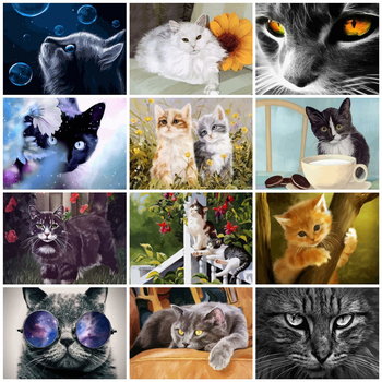 AZQSD 50x40cm Paints By Numbers Animals Pictures Oil Drawing By Numbers Cat Full Set Coloring By Numbers Home Decor