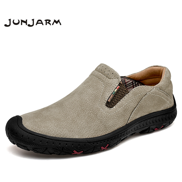 JUNJARM 2020 Men Shoes Leather Casual High Quality Loafers Breathable Slip On Sneakers Fashion Mens Driving Shoes Big Size 48